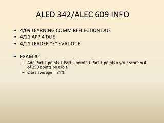 ALED 342/ALEC 609 INFO