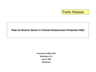 Role for Electric Sector in Critical Infrastructure Protection R&D