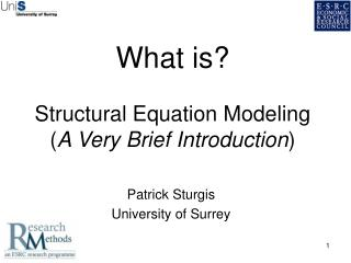 What is? Structural Equation Modeling  ( A Very Brief Introduction )