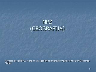 NPZ (GEOGRAFIJA)