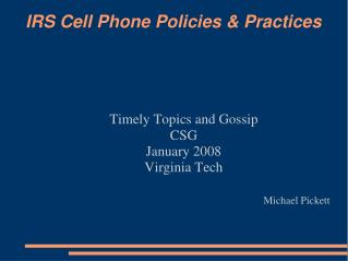 IRS Cell Phone Policies & Practices