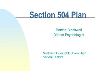 Section 504 Plan