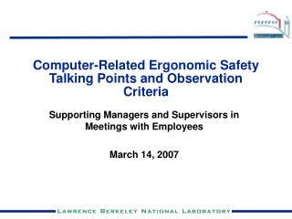 Computer-Related Ergonomic Safety Talking Points and Observation Criteria