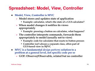 Spreadsheet: Model, View, Controller