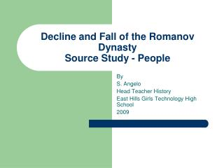 Decline and Fall of the Romanov Dynasty Source Study - People