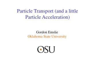 Particle Transport (and a little Particle Acceleration)