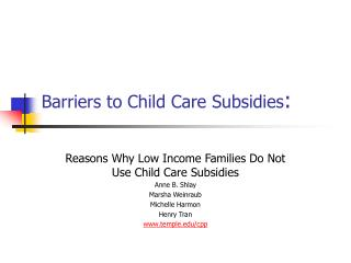 Barriers to Child Care Subsidies :