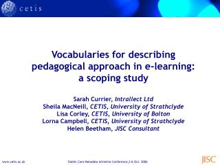 Vocabularies for describing pedagogical approach in e-learning: a scoping study