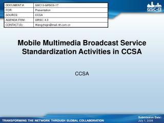 Mobile Multimedia Broadcast Service Standardization Activities in CCSA