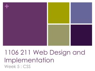 1106 211 Web Design and Implementation