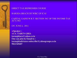 DIRECT TAX REFRESHER COURSE  BARODA BRACH OF WIRC OF ICAI