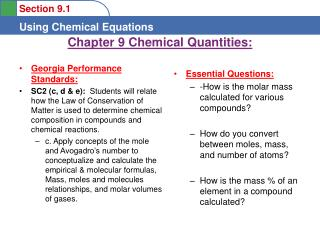 Chapter 9 Chemical Quantities: