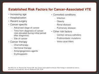 Established Risk Factors for Cancer-Associated VTE