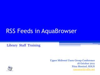 RSS Feeds in AquaBrowser