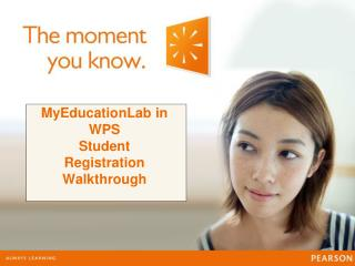 MyEducationLab in WPS Student Registration Walkthrough