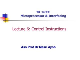 TK 2633: Microprocessor & Interfacing
