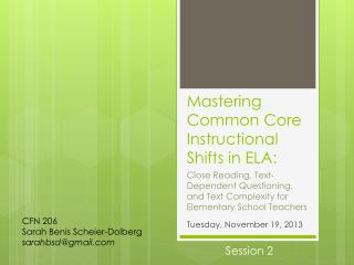 Mastering Common Core Instructional Shifts in ELA:
