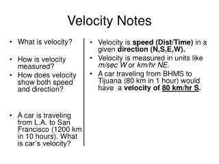 Velocity Notes