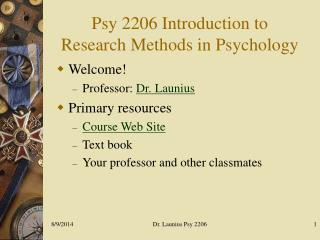 Psy 2206 Introduction to  Research Methods in Psychology