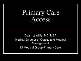 Primary Care Access