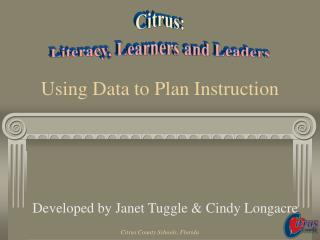 Using Data to Plan Instruction