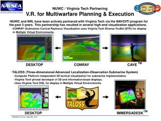 NUWC / Virginia Tech Partnering V.R. for Multiwarfare Planning & Execution