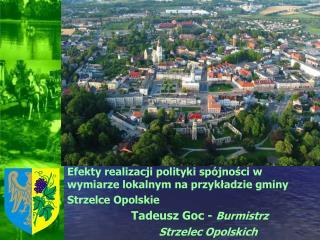 Efekty realizacji polityki sp jnosci w wymiarze lokalnym na przykladzie gminy Strzelce Opolskie     Tadeusz Goc - Burmis
