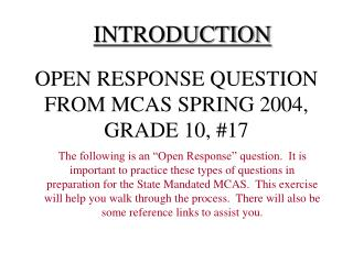 OPEN RESPONSE QUESTION FROM MCAS SPRING 2004, GRADE 10, 17