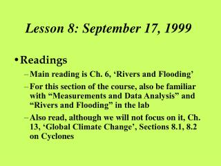 Lesson 8: September 17, 1999