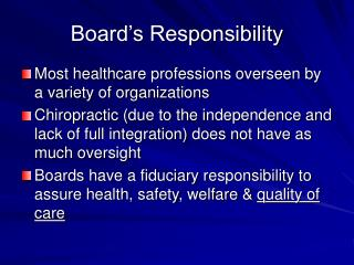 Board's Responsibility