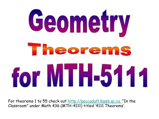 Geometry Theorems for MTH-5111