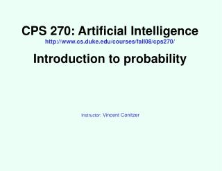 Instructor:  Vincent Conitzer