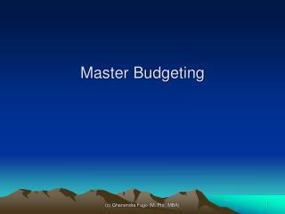 Master Budgeting