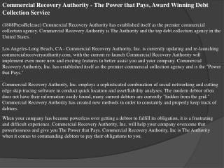 Commercial Recovery Authority - The Power that Pays