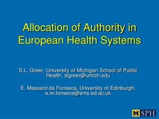 Allocation of Authority in European Health Systems