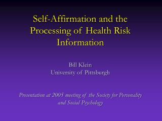 Self-Affirmation & Dissonance