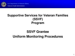 Supportive Services for Veteran Families (SSVF)  Program SSVF Grantee