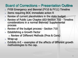 Board of Corrections � Presentation Outline