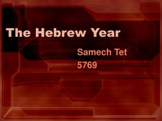 The Hebrew Year