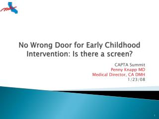 No Wrong Door for Early Childhood Intervention: Is there a screen?