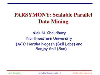 PARSYMONY: Scalable Parallel Data Mining