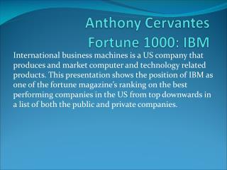 Anthony Cervantes Fortune 1000: IBM