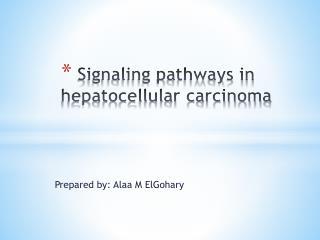 Signaling pathways in hepatocellular carcinoma