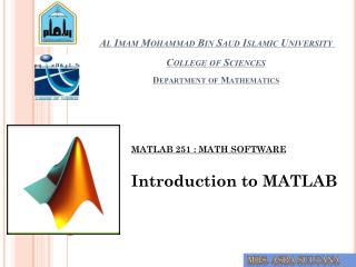 Al  Imam  Mohammad Bin Saud Islamic University  College of  Sciences Department of  Mathematics