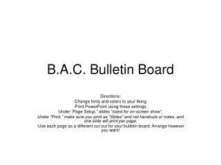 B.A.C. Bulletin Board