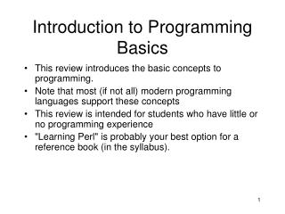 Introduction to Programming Basics