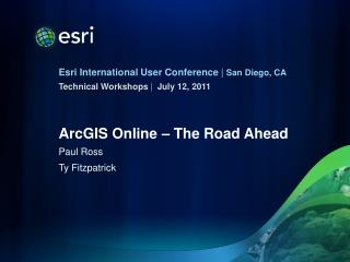 ArcGIS Online – The Road Ahead
