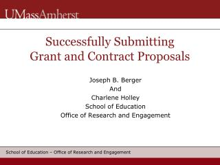 Successfully Submitting Grant and Contract Proposals