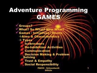 Adventure Programming GAMES