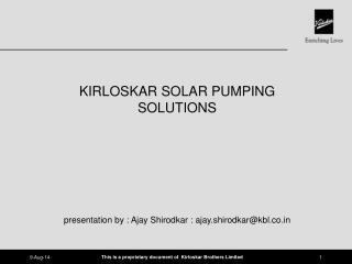 KIRLOSKAR SOLAR PUMPING SOLUTIONS